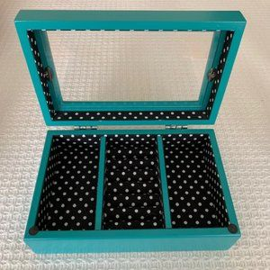Xhilaration Jewelry Box ~Teal w/Black & White Dots